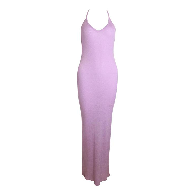 Chanel Pink Metallic Maxi Dress 1