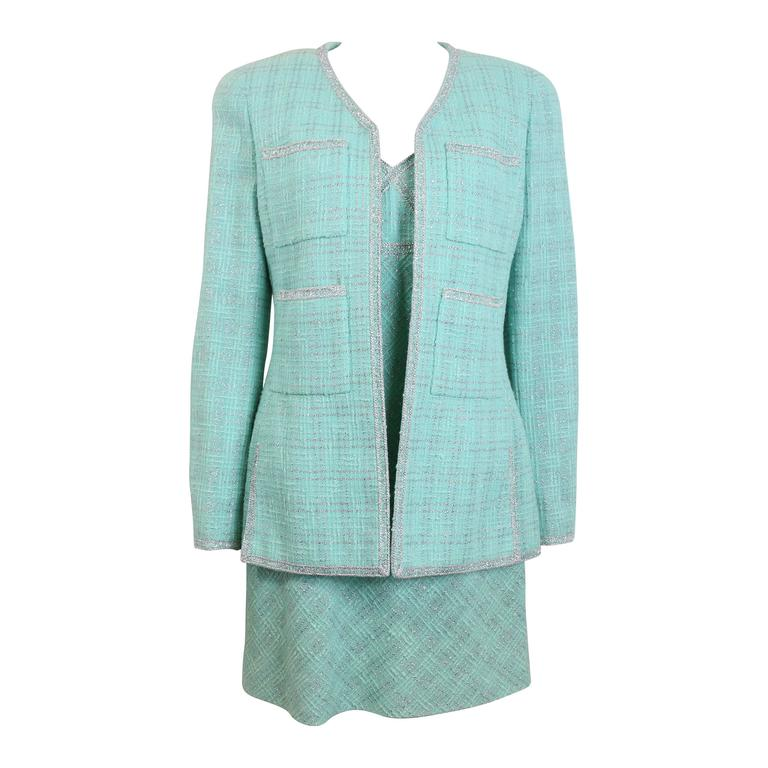 a49a96cf8ac Chanel Green Tweed Dress Suit Ensemble For Sale at 1stdibs