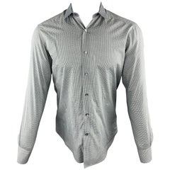 LANVIN Size S Grey Plaid Cotton Button Up Long Sleeve Shirt