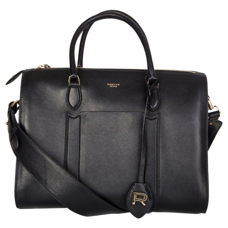 ROCHAS black leather Duffle Satchel Tote Shoulder Bag