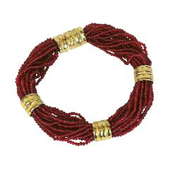 Bold Ruby Bead Torsade Necklace