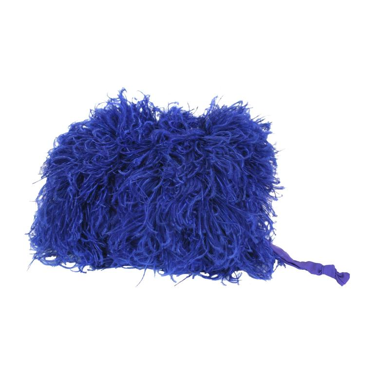Vibrant Sapphire Curled Ostrich Feather Muff