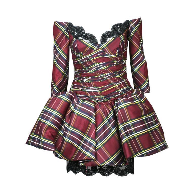 Vicky Tiel Plaid Silk Cocktail Dress For Sale