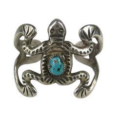 Vintage Navajo Sterling Silver Sandcast Frog Bracelet