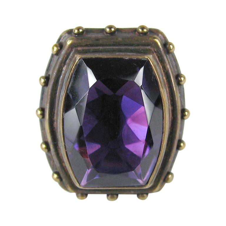 1990s Stephen DWECK Sterling silver Bronze Faceted Amethyst Ring 1