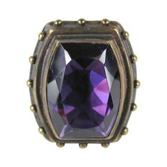 1990s Stephen DWECK Sterling silver Bronze Faceted Amethyst Ring