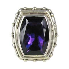 1990s Stephen DWECK Sterling silver Faceted Amethyst Ring Never worn