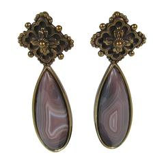 Stephen DWECK l Sterling Silver Bronze Wash Dangle Earrings 1990