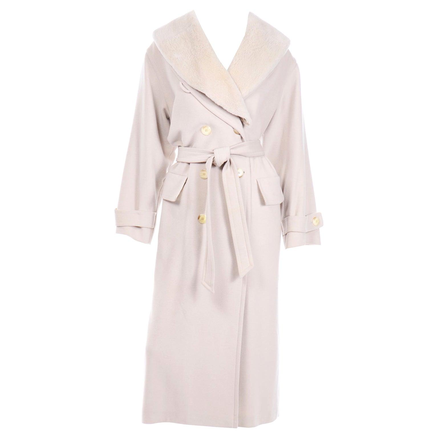 1980s Vintage Louis Feraud Cream Cashmere Wool Angora Coat with Belt