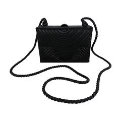 Chanel Vintage 1997 Black Satin Beaded Evening Box Bag