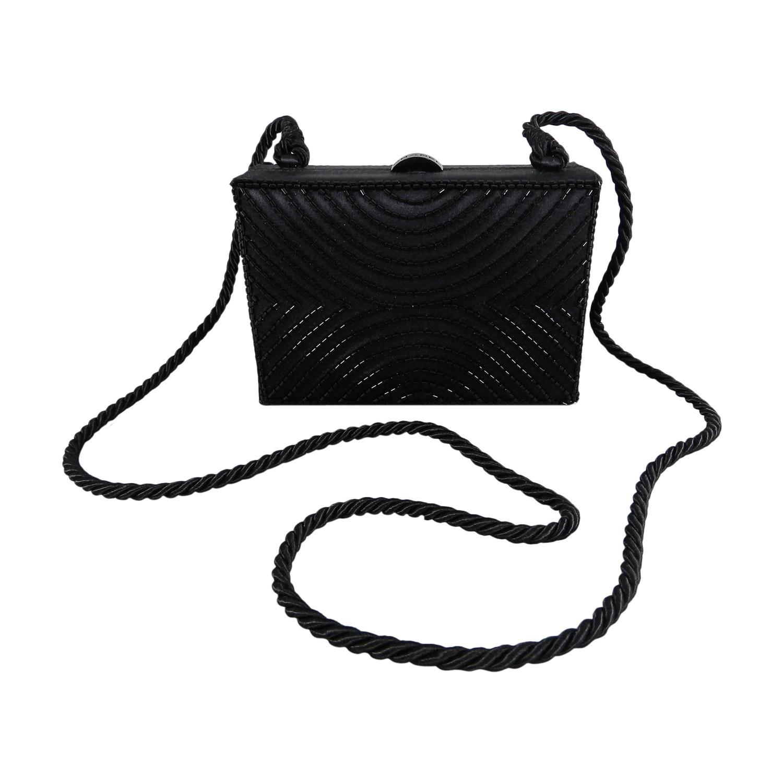 Chanel Vintage 1997 Black Satin Beaded Evening Box Bag For