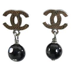 Chanel 10V Gunmetal and Black Bead CC Earrings
