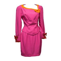 1980s Thierry Mugler Two Piece Pink Suit