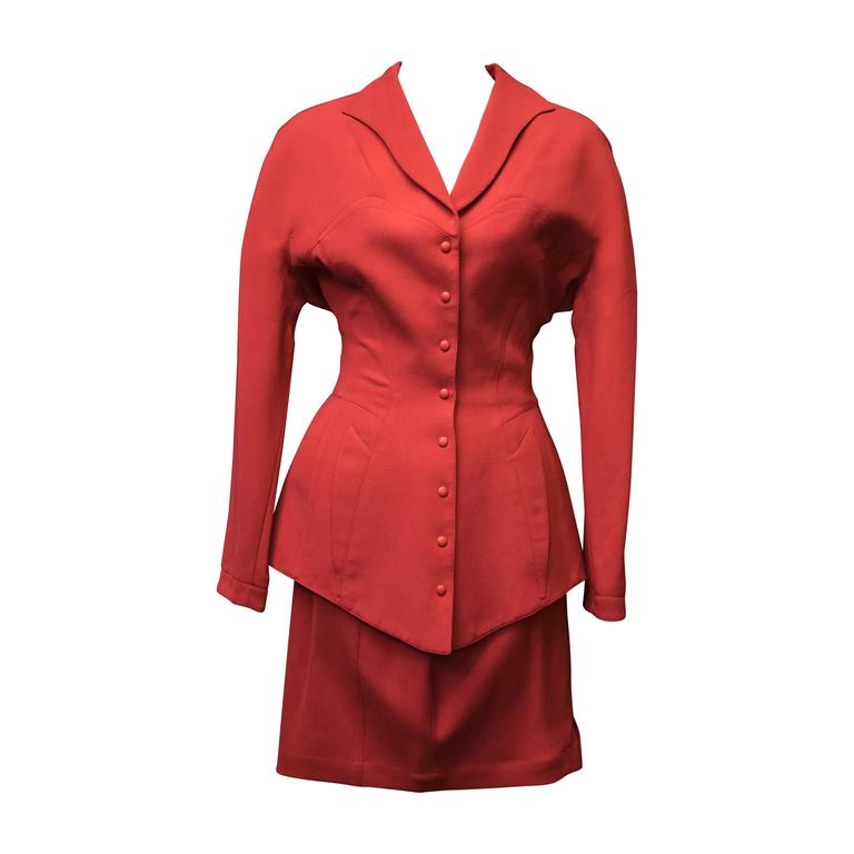1980s Thierry Mugler Two Piece Red Suit
