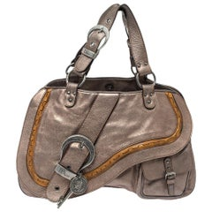 Dior Metallic Brown Gaucho Leather Large Double Saddle Shoulder Bag