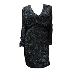 1980s Bob Mackie Black Beaded Two Piece Cocktail Dress and Bolero