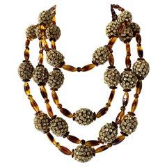 Vintage William de Lillo Faux Tortoise Diamante Statement Necklace