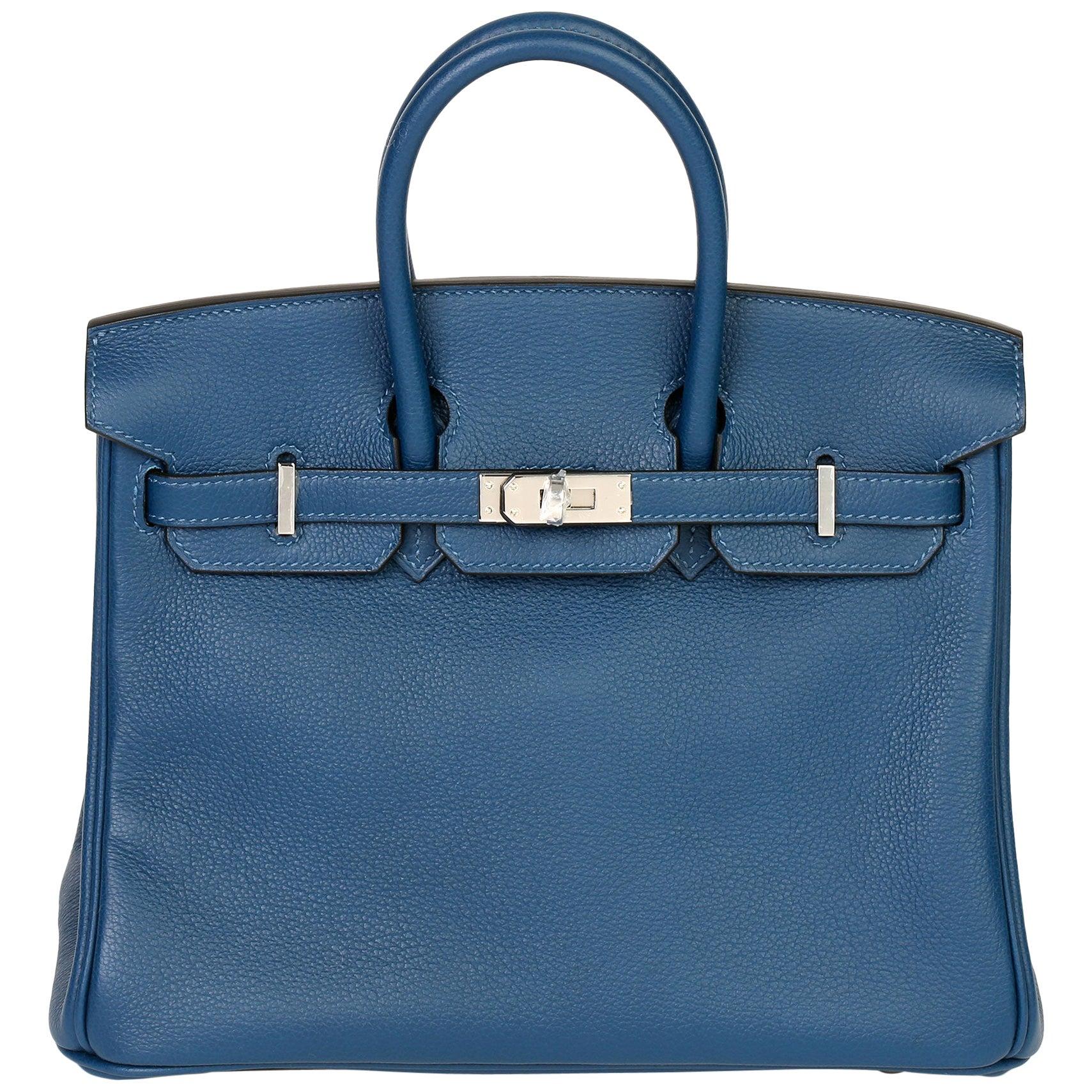 Hermès eep Blue Novillo Leather Birkin 25cm