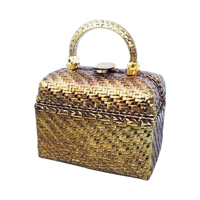 Rodo Gilt Lacquered Wicker Handbag 1970s At 1stdibs
