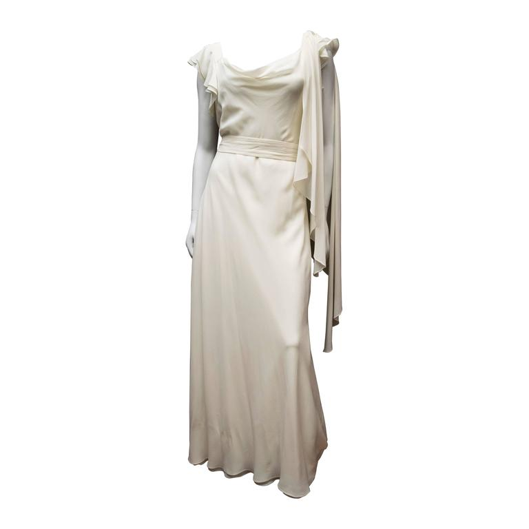 1930's Ivory Silk Chiffon Grecian Dress For Sale