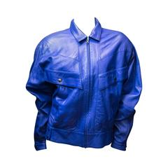 Claude Montana Blue Lambs Leather Jacket