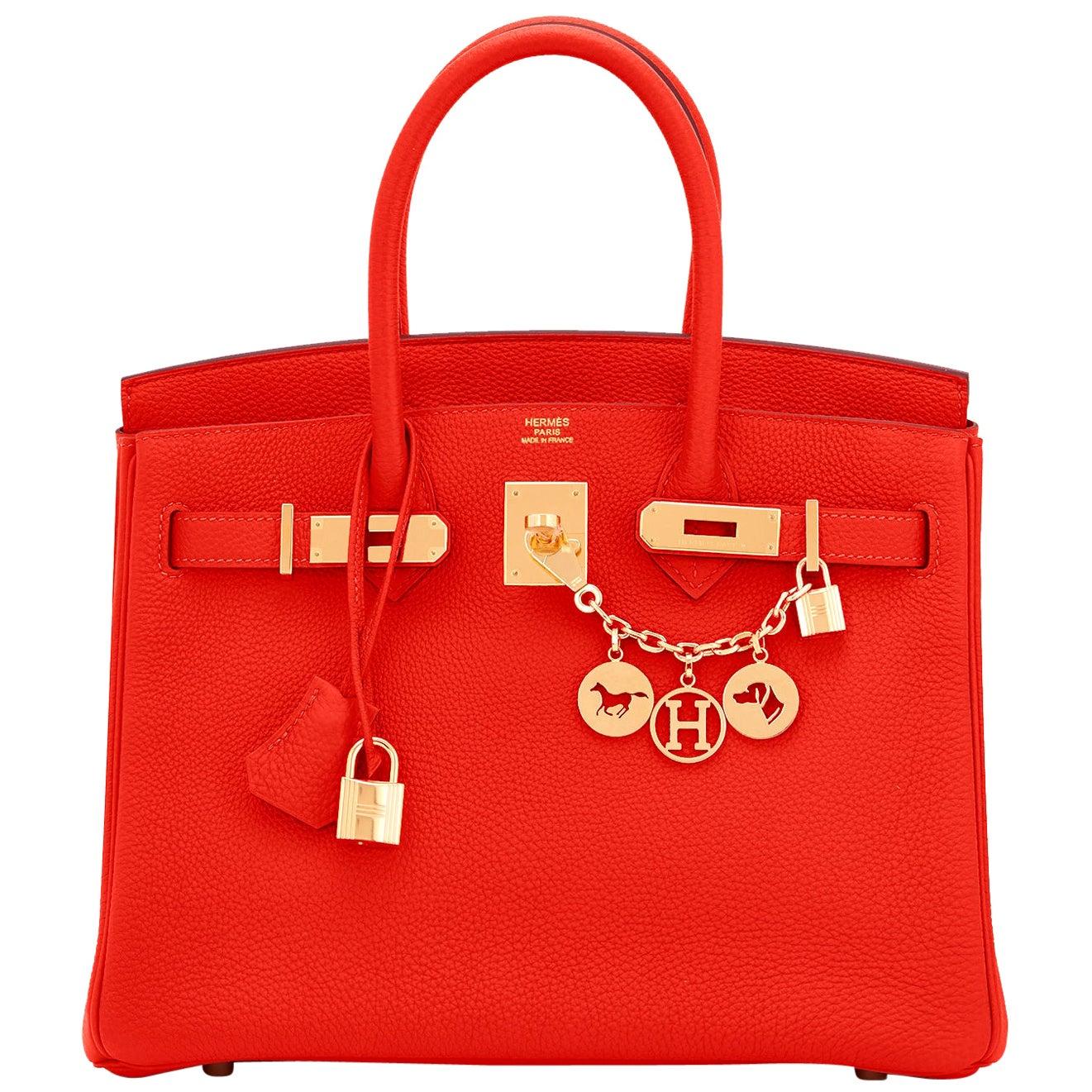 Hermes Capucine Red-Orange 30cm Togo Birkin Bag Gold Hardware