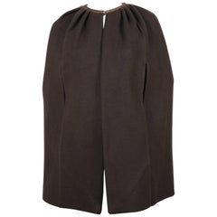 Rick Owens taupe cashmere cape with leather trim