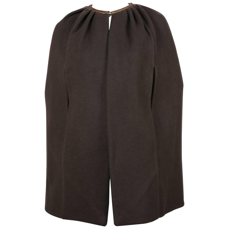 RICK OWENS taupe cashmere cape with leather trim  1