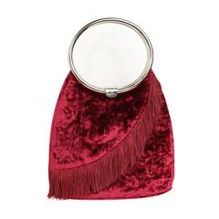 Christian Dior Red Velvet Fringe Handle Bag