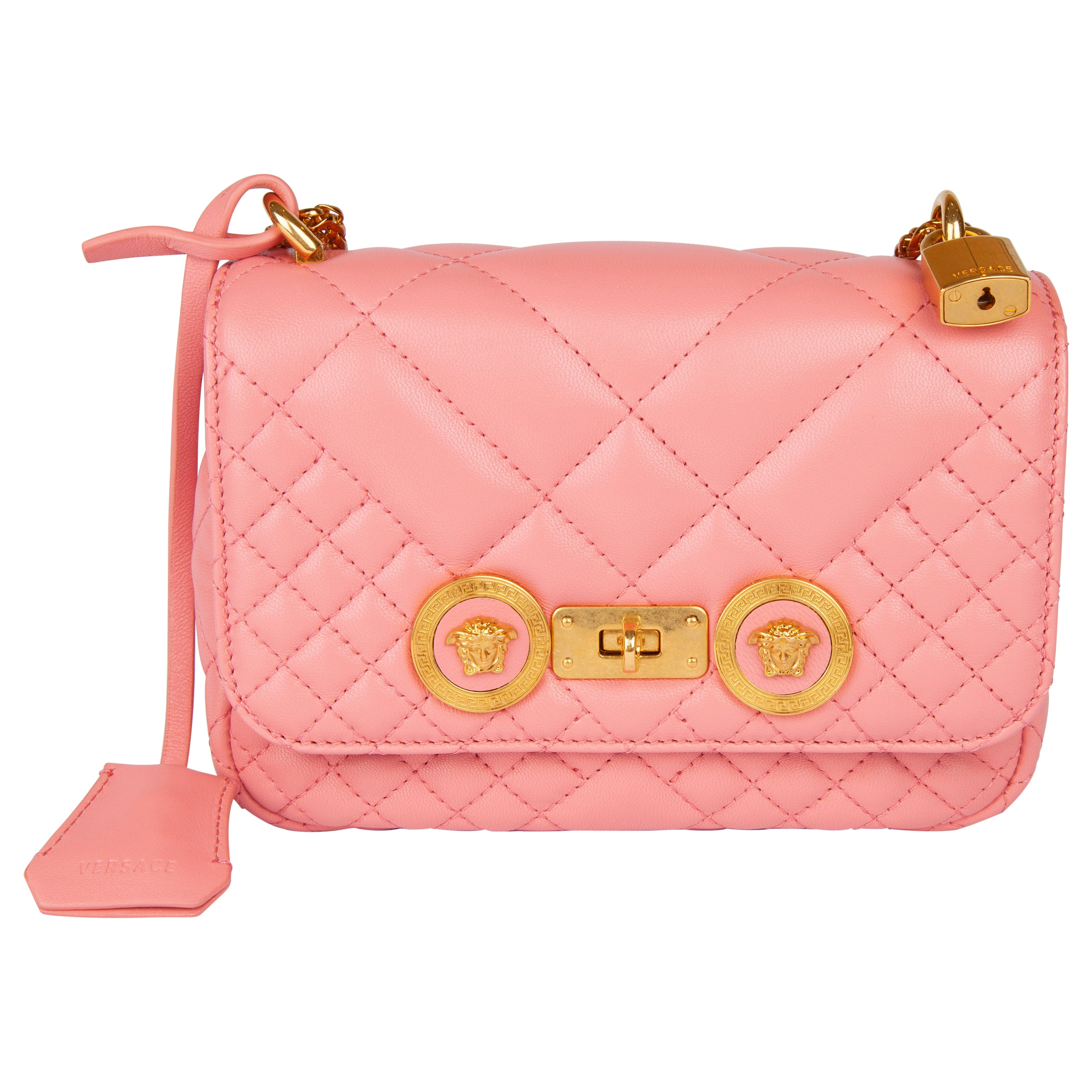 Versace Small Shell Pink Quilted Leather Icon Shoulder Bag