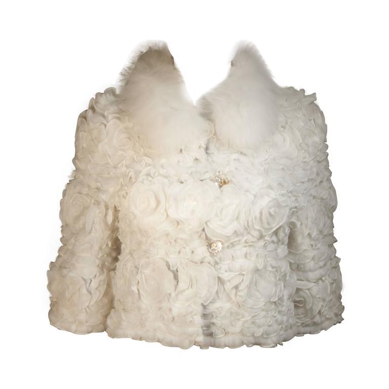 White Fox Fur Bolero Style Jacket with Rose Ruffle Details Size 6