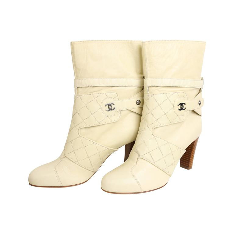 Chanel Cream Leather Quilted Ankle Boots  1