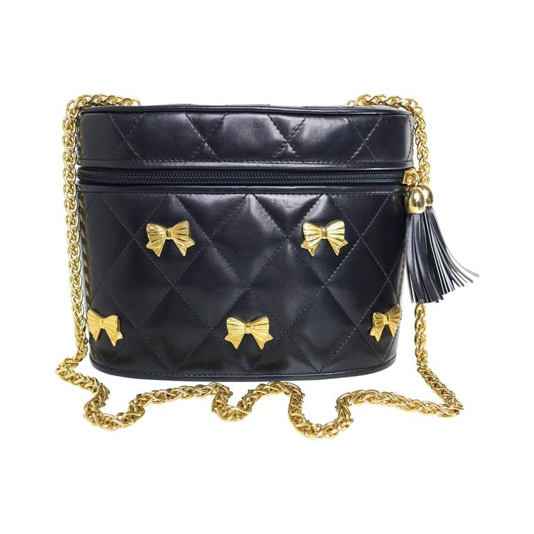 Escada Black Leather Quilted Bag  1