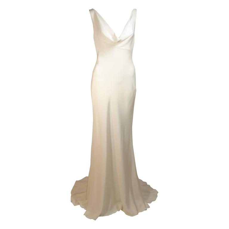 MONIQUE IHUILLIER BLISS Ivory Silk Empire Style Bias Cut Gown Size 4 1