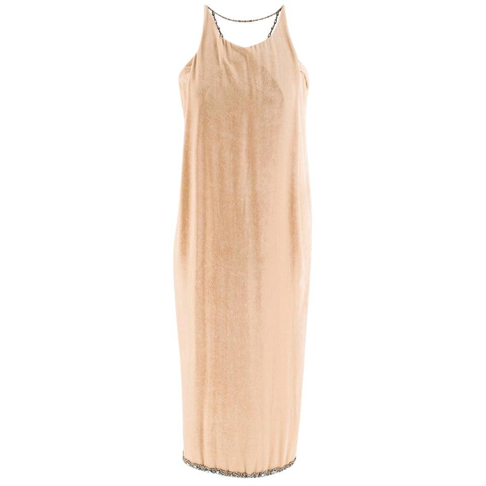 Bottega Veneta Beige Velvet Chain Draped Low Back Embellished Dress - Size US 6