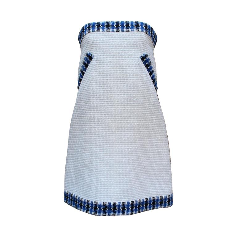 2013 Chanel Strapless Dress in White Blue and Black Cotton For Sale