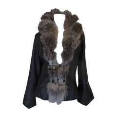 Black Leather Jacket with Silver Fox Fur collar