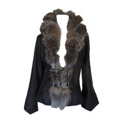 On Trend black leather jacket with silver fox fur collar