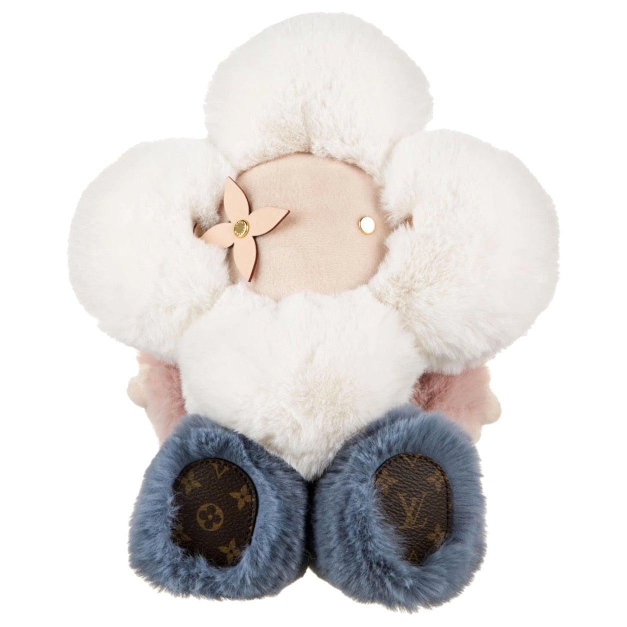 Louis Vuitton NEW Pink Blue White Monogram Figurine Decorative Bear Toy in Box
