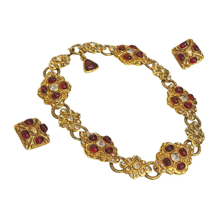 Maison Gripoix for Chanel choker necklace and earrings, c. 1980s 1