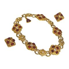 Maison Gripoix for Chanel choker necklace and earrings, c. 1980s
