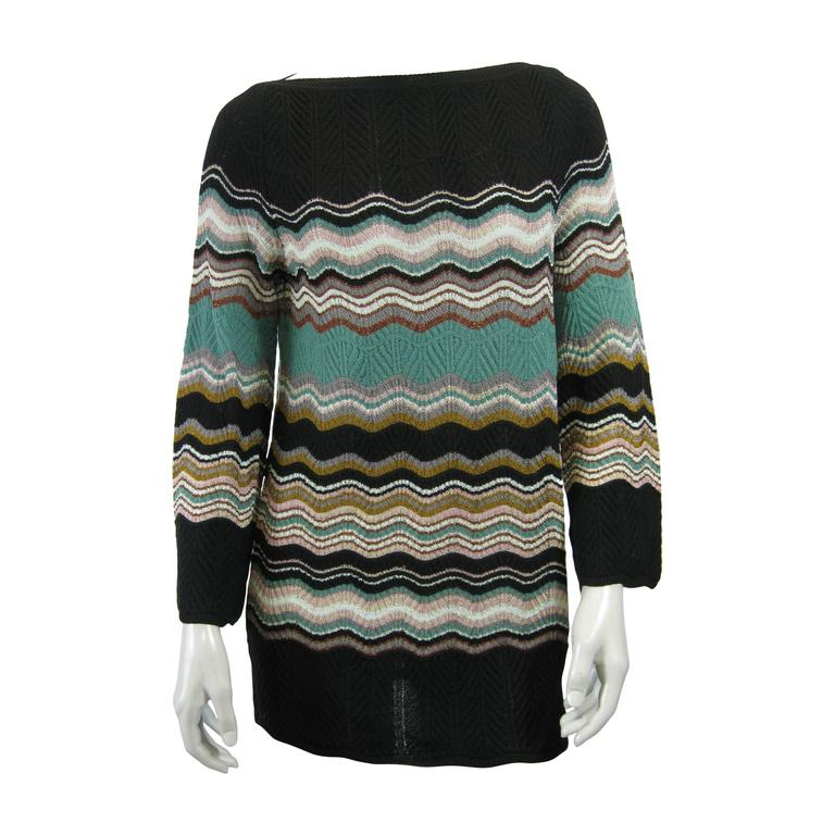 M Missoni Chevron Stripe Long Knit Sweater