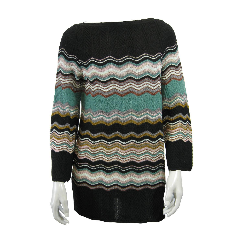 M Missoni Chevron Stripe Long Knit Sweater