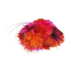 Stephen Jones fuchsia and orange feathered hat, c. 1990s