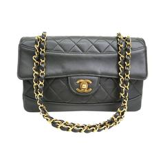 celine black calfskin leather gold chain hardware flap box shoulder bag