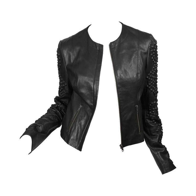 Givenchy Black Leather Crystal Studded Jacket 1