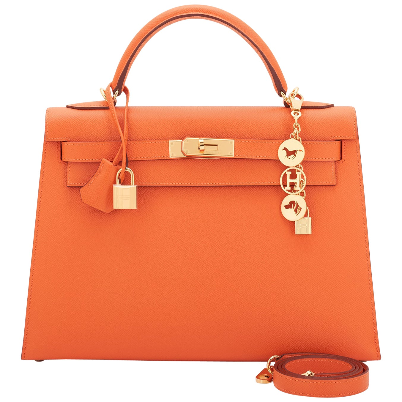 Hermes Kelly 32cm Classic Orange Epsom Gold Sellier Shoulder Bag ULTRA RARE NEW
