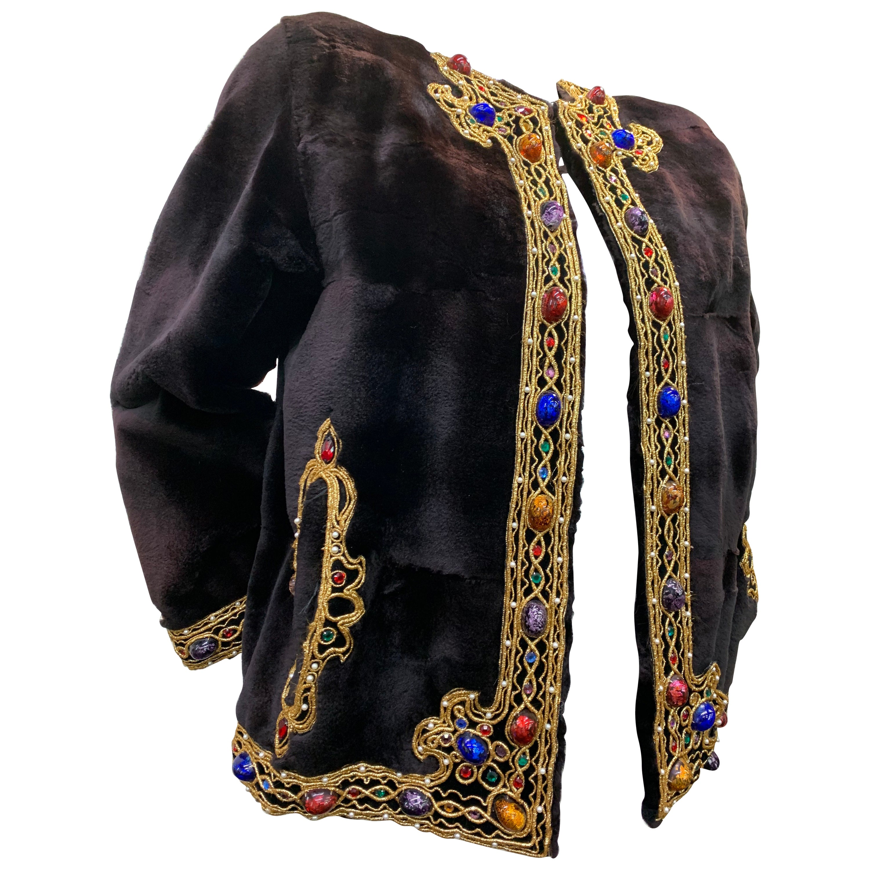 1980 Oscar de la Renta Sheared Mink Bejeweled Fur Jacket W/ Gold Braid Trim