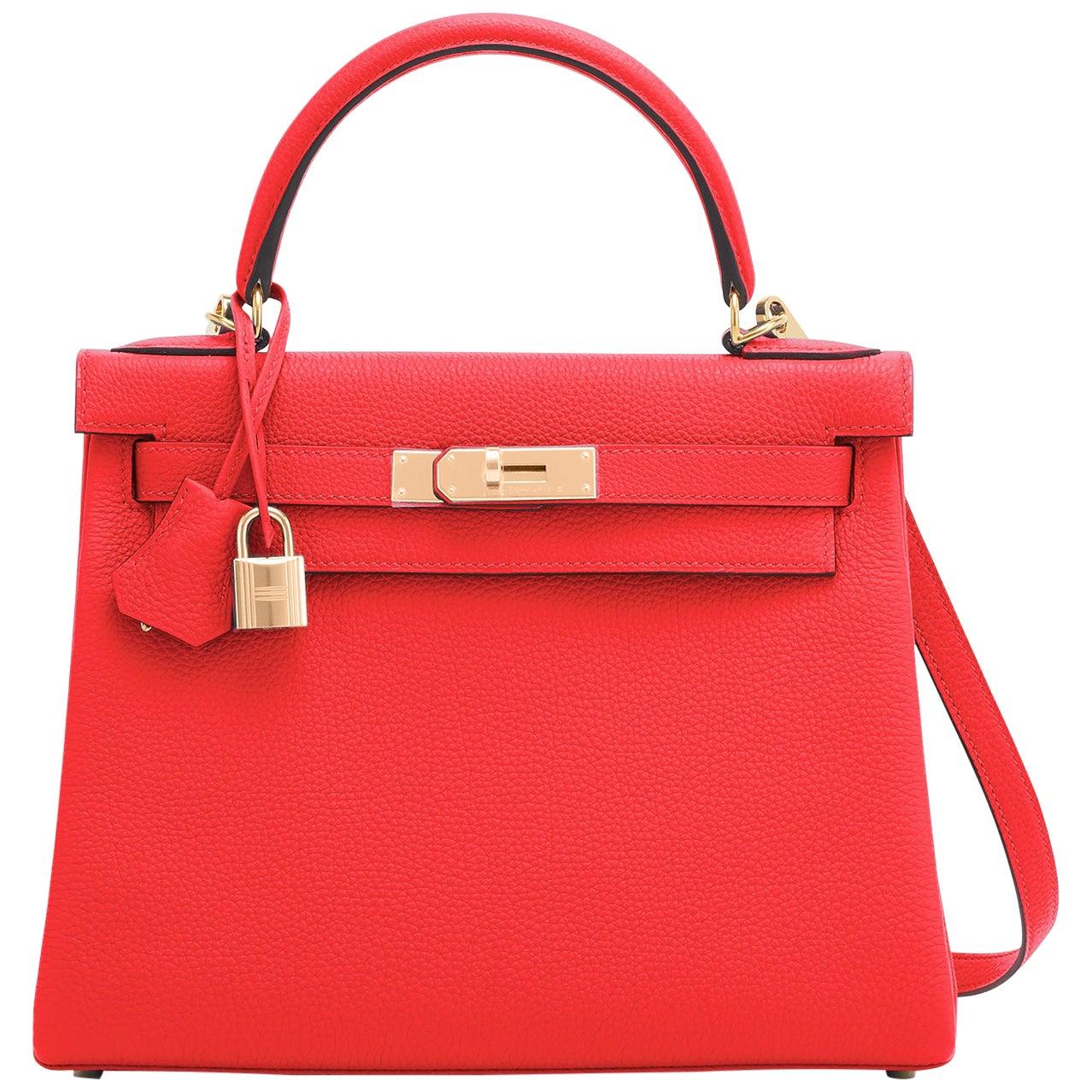 Hermes Kelly 28cm Capucine Red Orange Togo Gold Shoulder Bag Y Stamp, 2020
