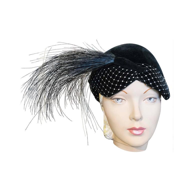 1950s Black Velvet Cocktail Hat For Sale